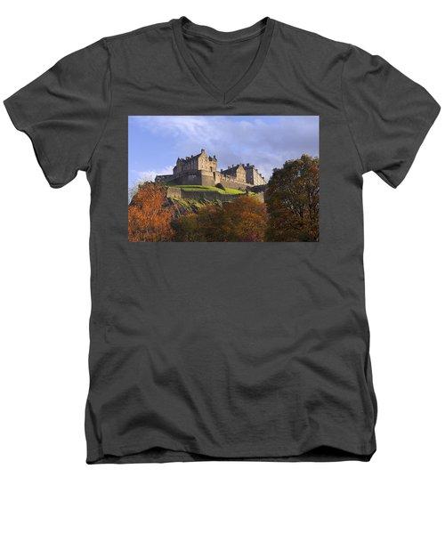 Autumn At Edinburgh Castle Men's V-Neck T-Shirt