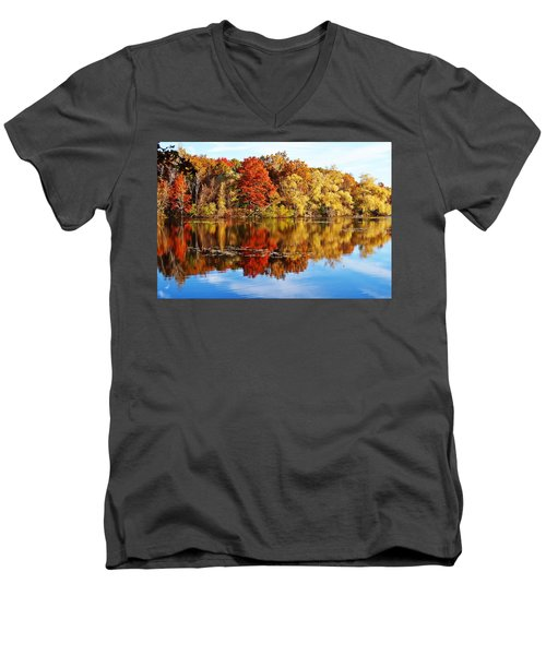 Autumn At Horn Pond Men's V-Neck T-Shirt by Joe Faherty