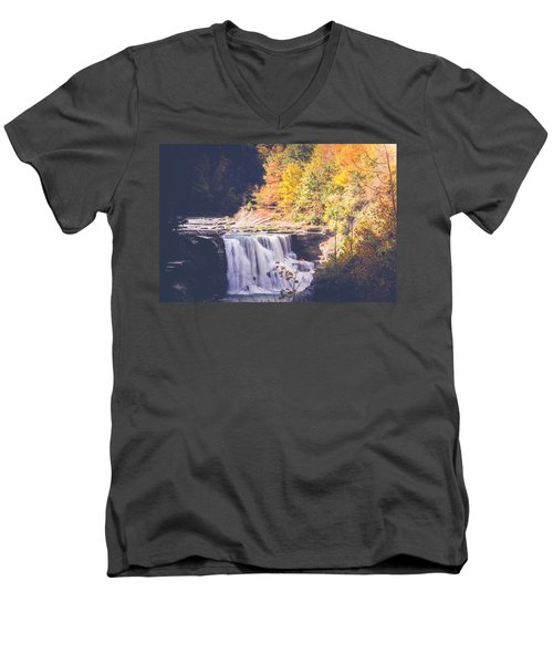 Autumn At Letchworth Men's V-Neck T-Shirt by Sara Frank