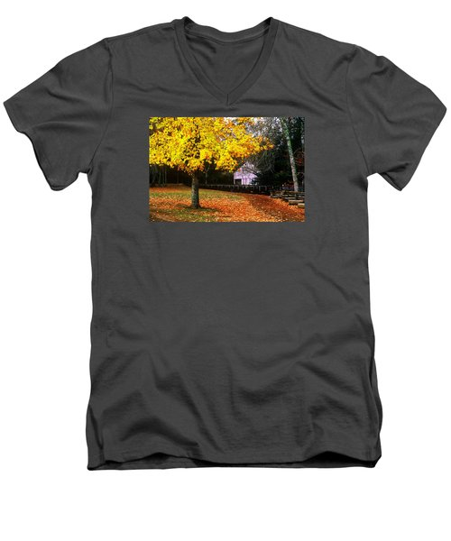 Men's V-Neck T-Shirt featuring the photograph Autumn At Old Mill by Rodney Lee Williams