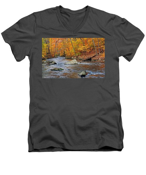 Autumn At The Black River Men's V-Neck T-Shirt