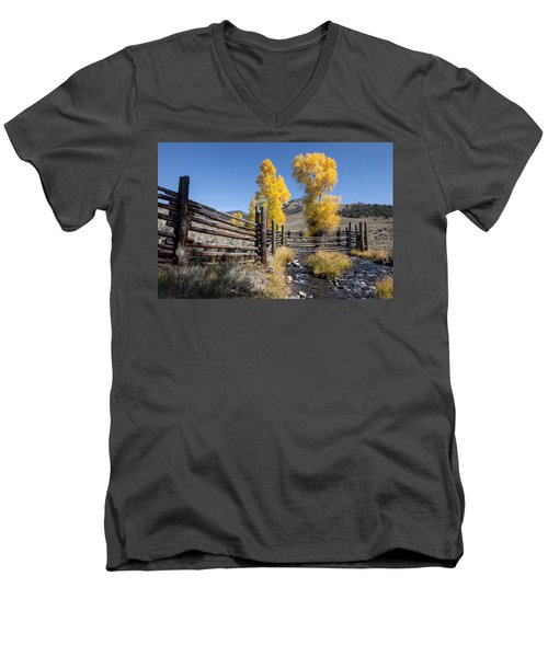Men's V-Neck T-Shirt featuring the photograph Autumn At The Lamar Buffalo Ranch by Jack Bell