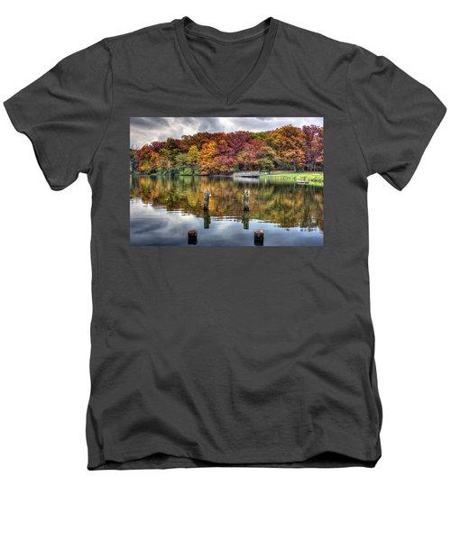 Autumn At The Pond Men's V-Neck T-Shirt