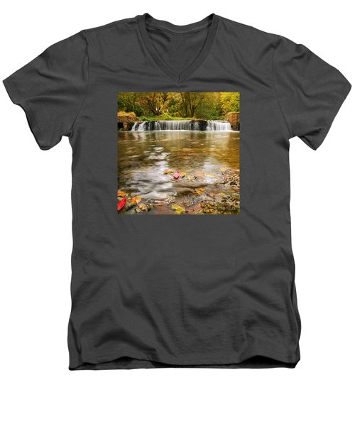 Men's V-Neck T-Shirt featuring the photograph Autumn At Valley Creek by Rima Biswas