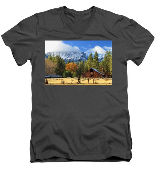 Autumn Barn At Thompson Peak Men's V-Neck T-Shirt