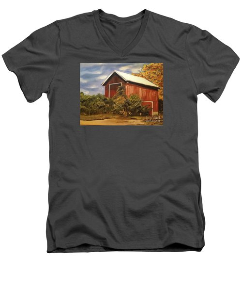Men's V-Neck T-Shirt featuring the painting Autumn - Barn - Ohio by Jan Dappen