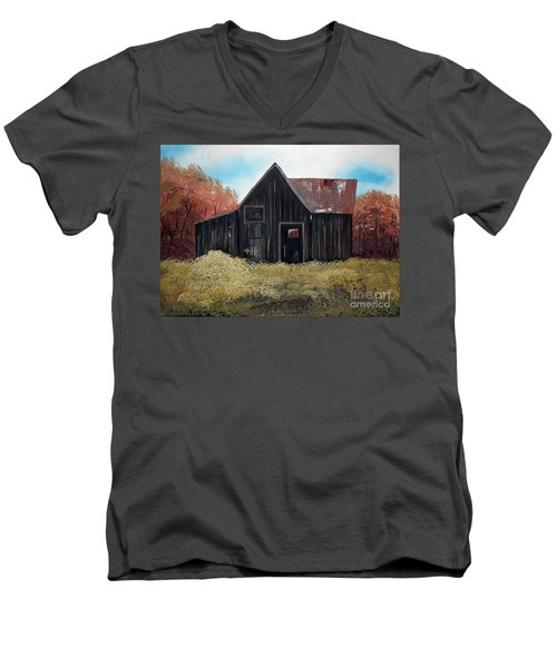 Men's V-Neck T-Shirt featuring the painting Autumn - Barn -orange by Jan Dappen