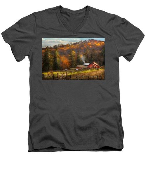 Autumn - Barn - The End Of A Season Men's V-Neck T-Shirt