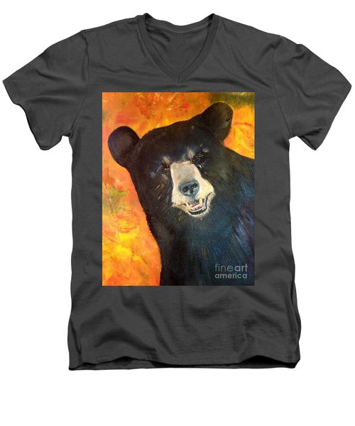 Men's V-Neck T-Shirt featuring the painting Autumn Bear by Jan Dappen