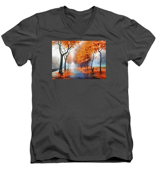 Men's V-Neck T-Shirt featuring the photograph Autumn Boulevard by Charmaine Zoe