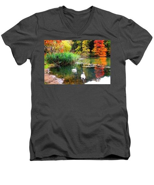 Autumn By The Swan Lake Men's V-Neck T-Shirt by Dora Sofia Caputo Photographic Art and Design