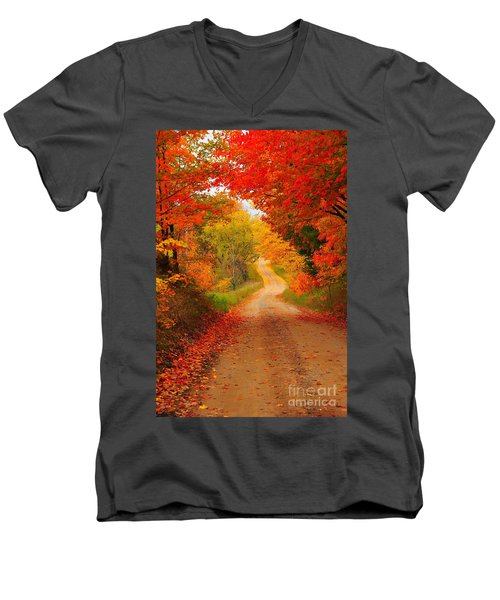 Men's V-Neck T-Shirt featuring the photograph Autumn Cameo by Terri Gostola