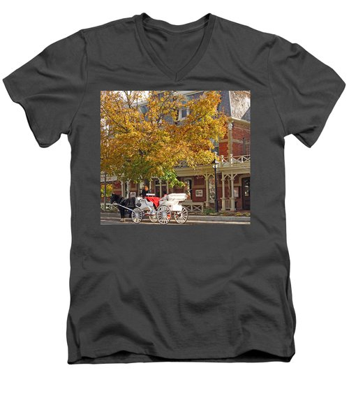 Autumn Carriage For Hire Men's V-Neck T-Shirt