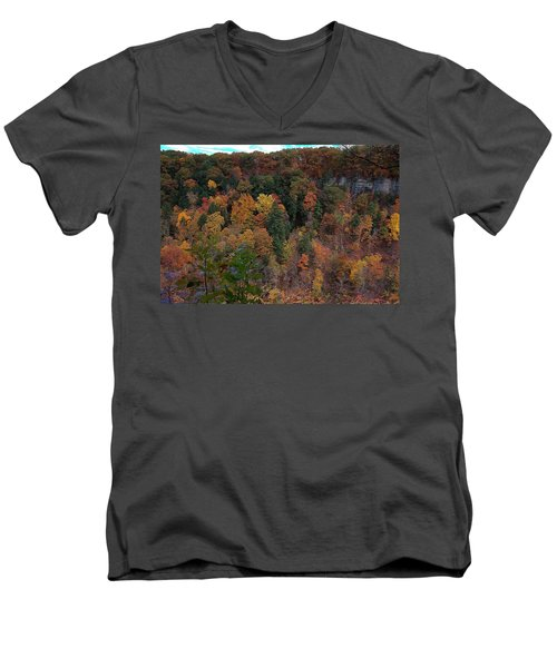Men's V-Neck T-Shirt featuring the photograph Autumn Colors In Taughannock State Park Ithaca New York by Paul Ge