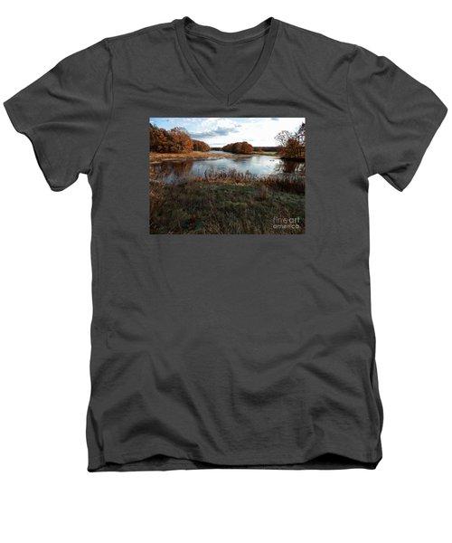 Autumn Colors Men's V-Neck T-Shirt by Marcia Lee Jones