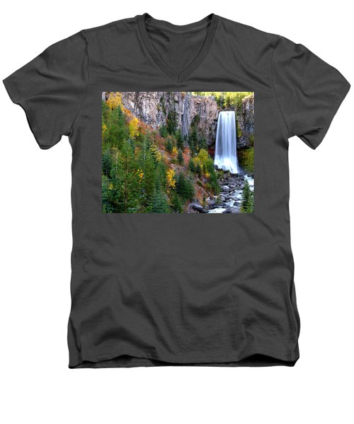 Autumn Colors Surround Tumalo Falls Men's V-Neck T-Shirt by Kevin Desrosiers