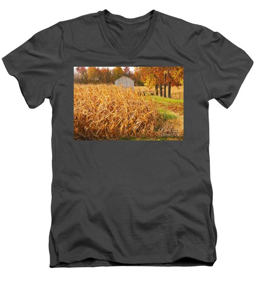 Men's V-Neck T-Shirt featuring the photograph Autumn Corn by Mary Carol Story