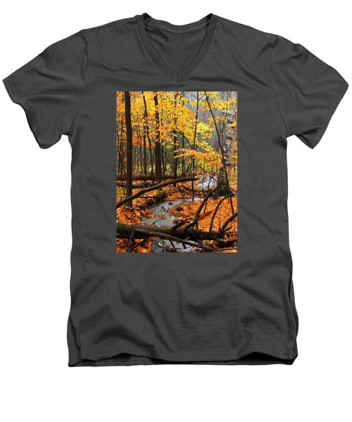 Men's V-Neck T-Shirt featuring the photograph Autumn Creek In The Rain by Rodney Lee Williams