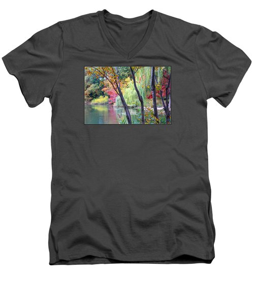 Autumn Fantasy Men's V-Neck T-Shirt by Dora Sofia Caputo Photographic Art and Design