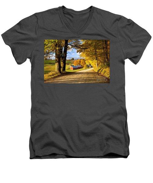Autumn Farm In Vermont Men's V-Neck T-Shirt by Brian Jannsen