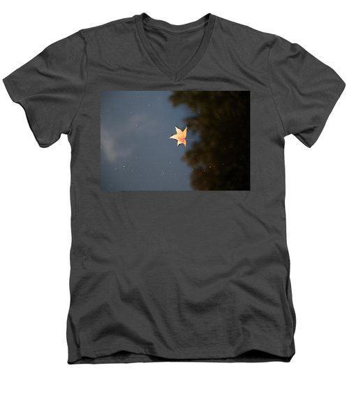 Men's V-Neck T-Shirt featuring the photograph Autumn Floating By by Rebecca Davis