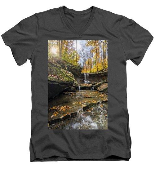 Autumn Flows Men's V-Neck T-Shirt by James Dean