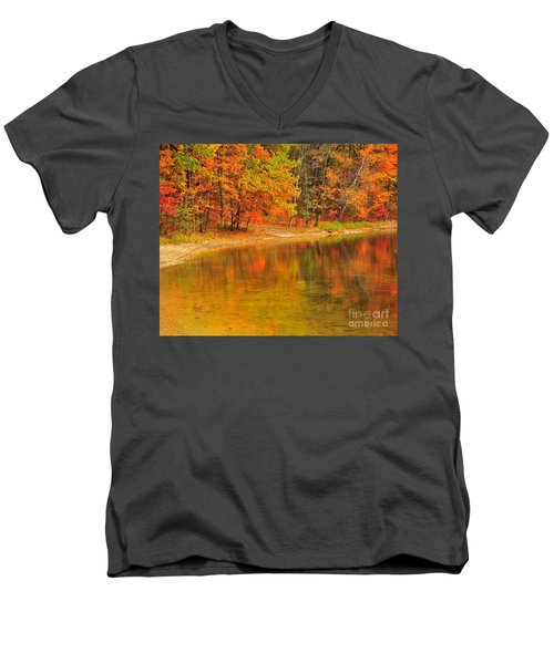Autumn Forest Reflection Men's V-Neck T-Shirt