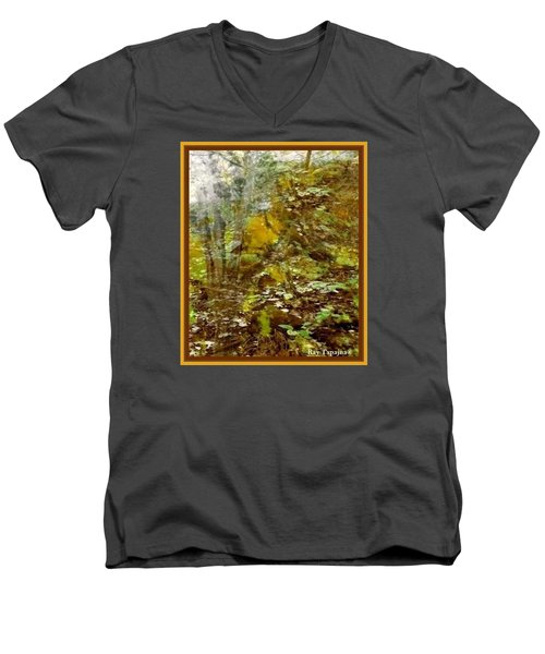 Men's V-Neck T-Shirt featuring the mixed media Autumn Impressions by Ray Tapajna