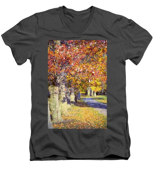 Autumn In Hyde Park Men's V-Neck T-Shirt by Joan Carroll