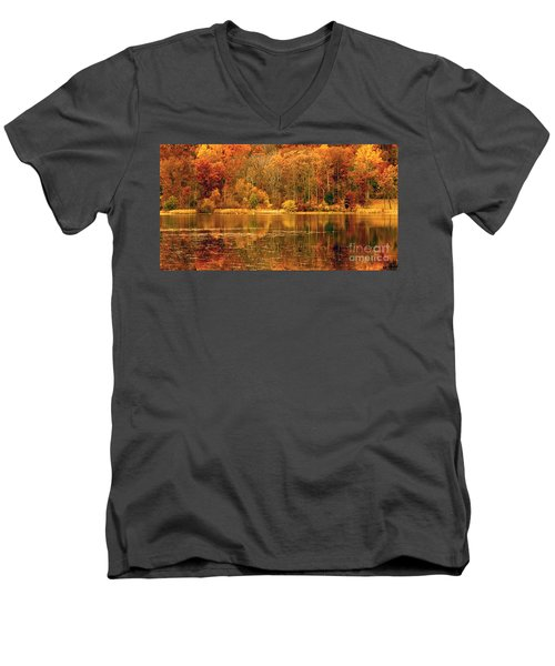 Autumn In Mirror Lake Men's V-Neck T-Shirt