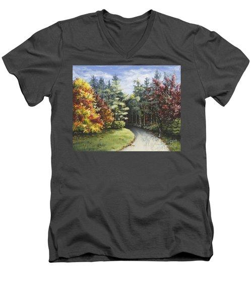 Autumn In The Arboretum Men's V-Neck T-Shirt