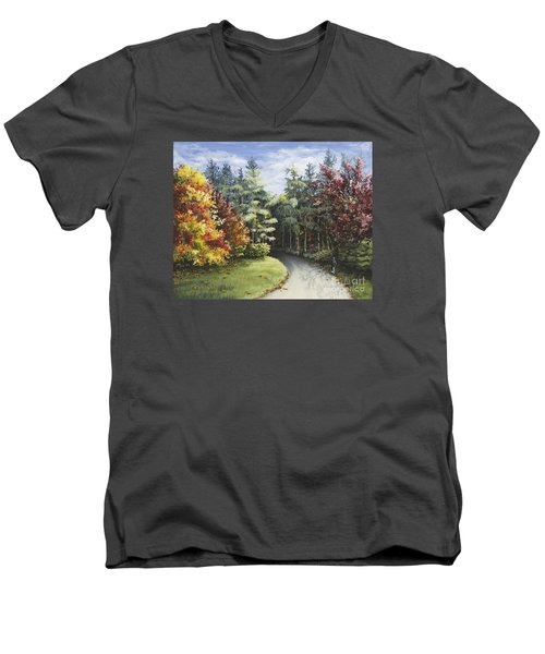 Autumn In The Arboretum Men's V-Neck T-Shirt