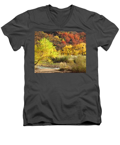 Men's V-Neck T-Shirt featuring the photograph Autumn In Zion by Alan Socolik