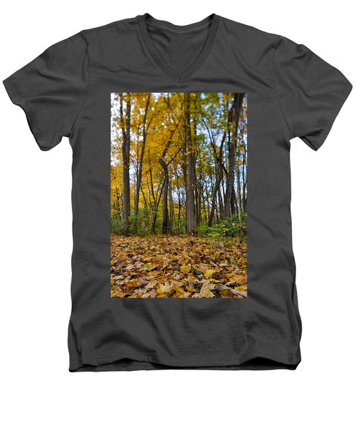 Men's V-Neck T-Shirt featuring the photograph Autumn Is Here by Sebastian Musial