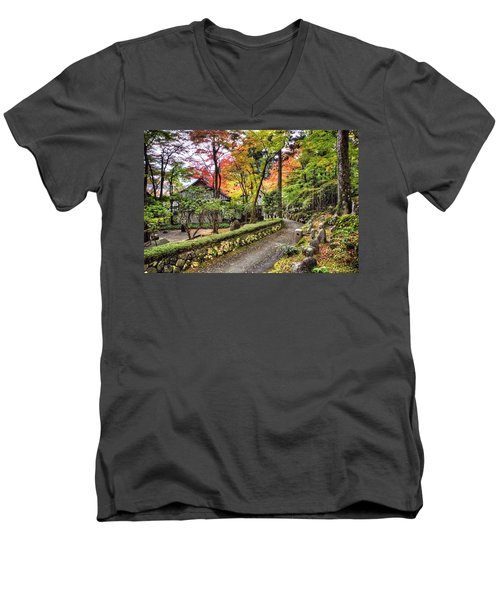 Autumn Walk Men's V-Neck T-Shirt by John Swartz