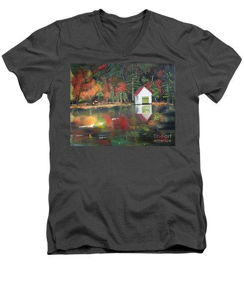 Men's V-Neck T-Shirt featuring the painting Autumn - Lake - Reflecton by Jan Dappen