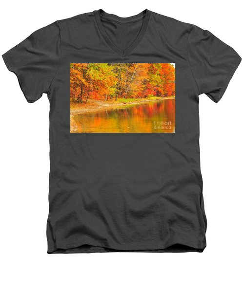 Men's V-Neck T-Shirt featuring the photograph Fire Balls by Terri Gostola