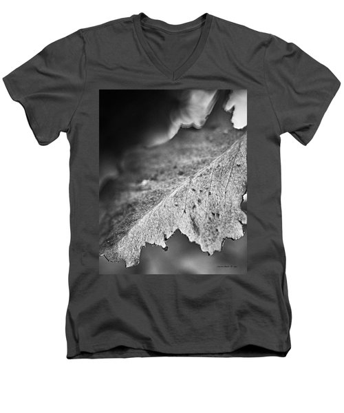 Autumn Leaves B And W Men's V-Neck T-Shirt