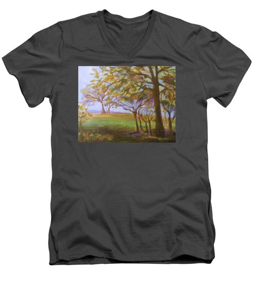 Men's V-Neck T-Shirt featuring the painting Autumn Leaves by Mary Wolf