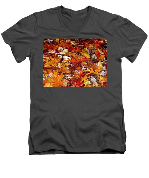 Autumn Leaves On The Ground In New Hampshire - Bright Colors Men's V-Neck T-Shirt