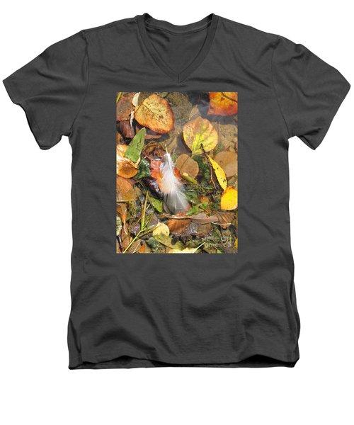 Men's V-Neck T-Shirt featuring the photograph Autumn Leavings by Ann Horn
