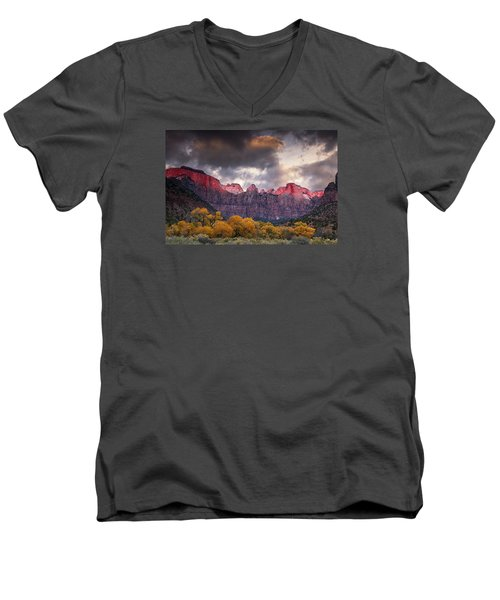 Men's V-Neck T-Shirt featuring the photograph Autumn Morning In Zion by Andrew Soundarajan