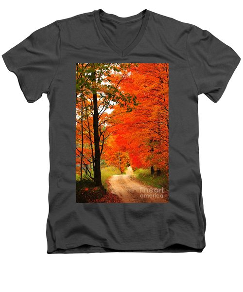 Men's V-Neck T-Shirt featuring the photograph Autumn Orange 2 by Terri Gostola
