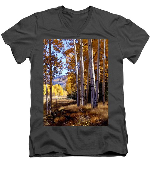 Autumn Paint Chama New Mexico Men's V-Neck T-Shirt