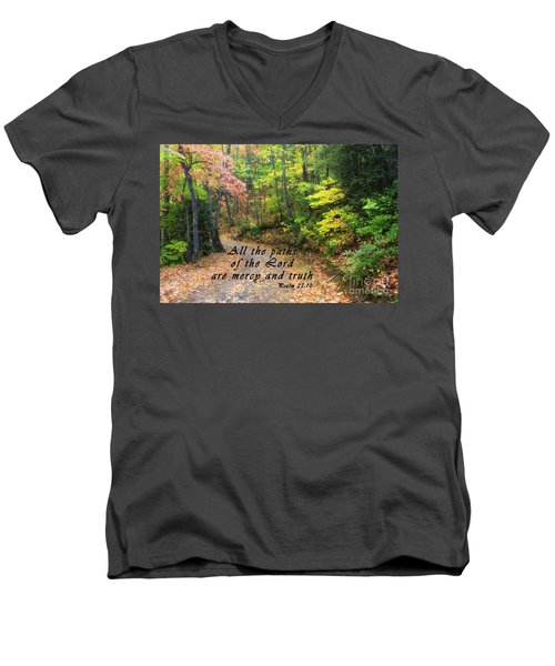 Autumn Path With Scripture Men's V-Neck T-Shirt