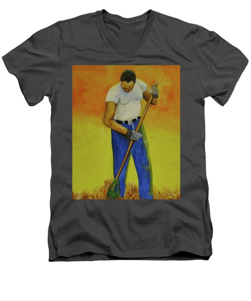Men's V-Neck T-Shirt featuring the painting Autumn Raking by Thomas J Herring