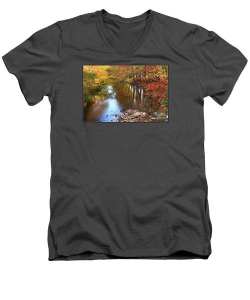 Autumn Reflection Men's V-Neck T-Shirt by Dora Sofia Caputo Photographic Art and Design