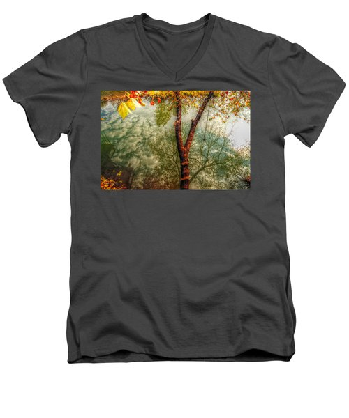 Men's V-Neck T-Shirt featuring the photograph Autumn Reflection  by Peggy Franz