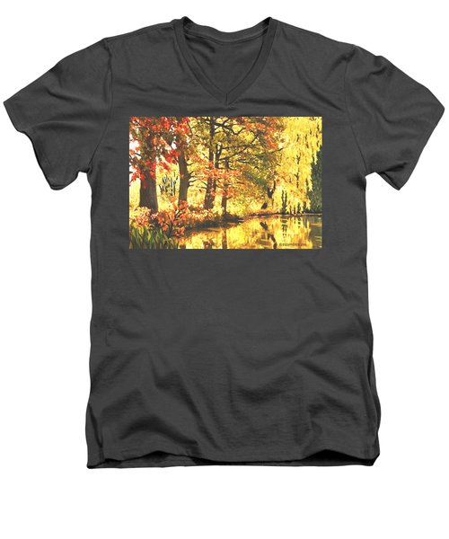 Autumn Reflections Men's V-Neck T-Shirt by Sophia Schmierer