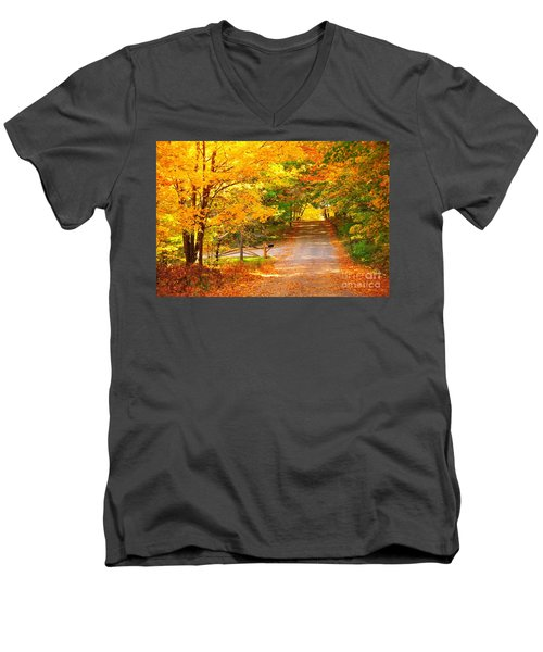 Men's V-Neck T-Shirt featuring the photograph Autumn Road Home by Terri Gostola